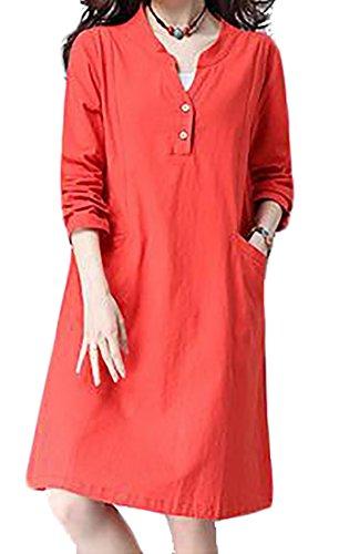 Stand Long Orange Womens Collar V Dress Cruiize Linen Loose neck Sleeve Casual xwYCOCpqI