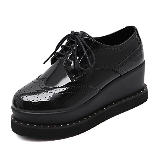 AdeeSu Womens Bandage Hollow Out Heighten Inside Microfiber Oxfords Shoes Black 3tDHZ