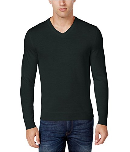 Club Room Mens Small V-Neck Merino Wool Blend Sweater Black S ()