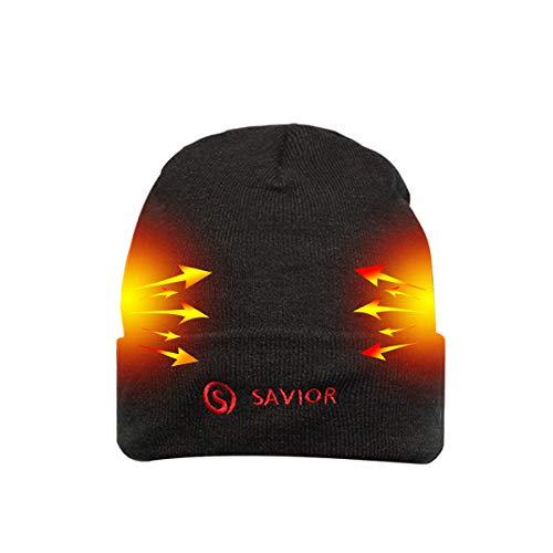 Battery Heated Beanie Hat,Electric Rechargeable Warm Winter Heated Fleece Cap
