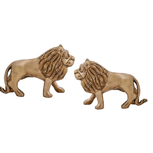 Ratnatraya 3.1' Inches Pair Of Brass Lion Statues For Vastu | Standing Idol For Vastu And Home Decorative (Pair Lion Statues)