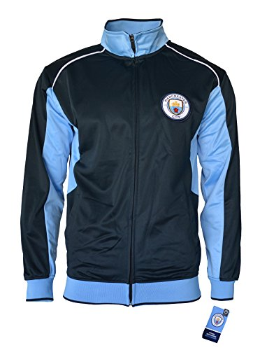 Jacket Jersey Track - Manchester City Track Jacket Youth Boys Zip Front Soccer Football Official Merchandise (YL, Navy item# K_BB1D-02)