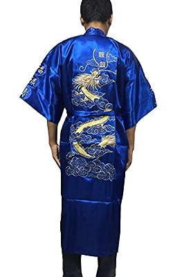YueLian Mens Robe Dragon Pattern Kimono Sleepwear Pajama Nightgown 5colors