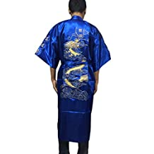 YueLian Men's Gold Dragon Satin Japanese Kimono Style Bathrobe Nightrobe