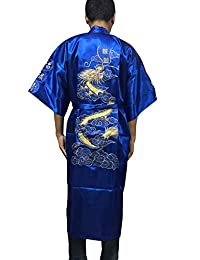 YueLian Men's Gold Dragon Satin Japanese Kimono Style Bathrobe Nightrobe