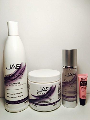 JAS Macadamia Reviving Oil Shampoo Macadamia Nut Oil + Jojoba Oil 16 Oz, Conditioner Macadamia Oil + Jojoba Oil 16 Oz & Oil Mist Macadamia Oil 4 Oz