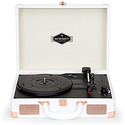 AUNA Peggy Sue White Edition Turntable  Record Player Vinyl  LP  USB  Line Out  Ultraportable  Nostalgic Design  Built-In Speakers  Digitalization USB Supported Plug Play