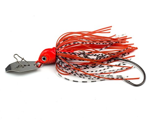Pasanhoo Fishing Hard Lures Spinner Baits Swim Jigs with Willow Blade 4 in. 8 oz (red)