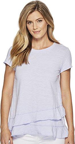 Mod-O-Doc Women's Slub Jersey Asymmetrical Flounce Hem T-Shirt Pale Pansy X-Small