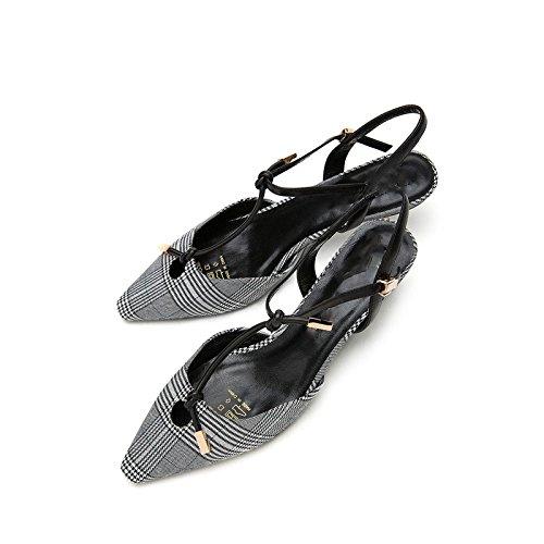 Sandalias bajo Negro DHG Tacones de Sólido de Altos de de Sandalias Verano Planas Tacón Zapatillas Punta de Ocasionales Mujer Dulces de Sandalias Color 35 Moda 4wqwdRrA