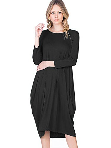 12 Ami Round Neck 3/4 Sleeve Tulip Hem Midi Dress Black L - Bubble Hem Mini Dresses
