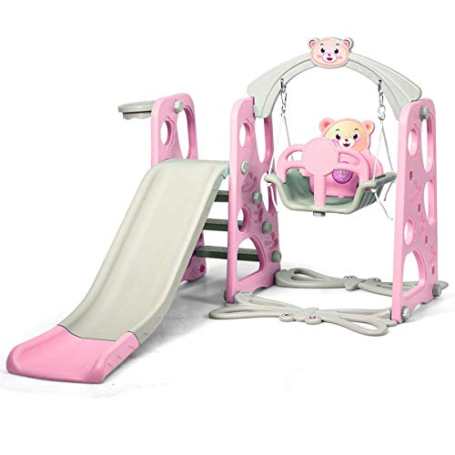 JINGBO 4 in 1 Toddler Climber Swing Set, Kids Climber Slide Playset with Long Slide and Basketball Hoop for Boys Girls Indoor Outdoor Backyard
