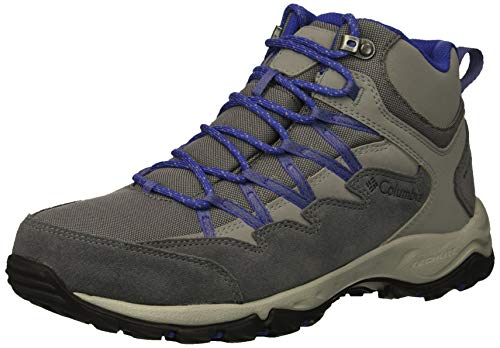 Columbia Women Wahkeena Mid Waterproof Hiking Boot, Breathable, High-Traction Grip, Ti Grey Steel, Clematis Blue, 9