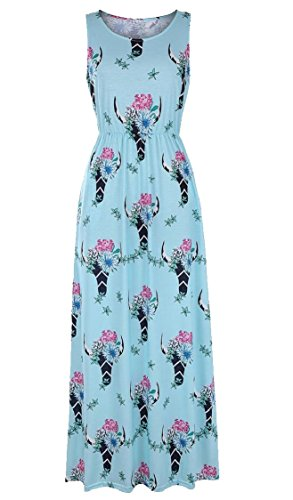 Maweisong Pockets Women Top 1 Swing s Print Dress Sleeveless Maxi Tank qBAwZPqH