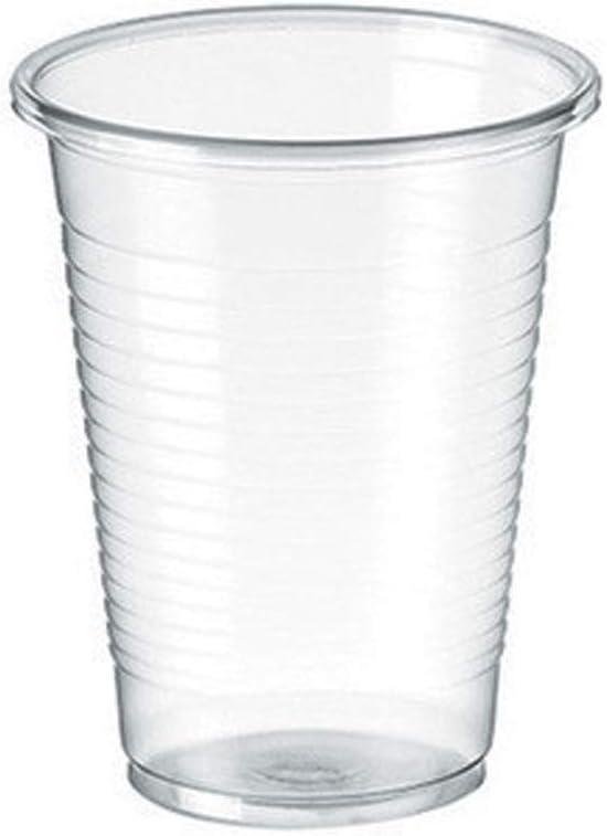 TELEVASO - 3000 uds - Vaso de plástico color transparente, de polipropileno (PP) - Capacidad de 200 ml - Desechables y reciclables - Ideal para bebidas frías como agua, refresco, zumos, té helado