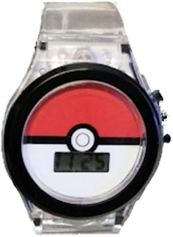 Pokemon Kids Watch Pokeball Clear Light Up Strap Black Dial