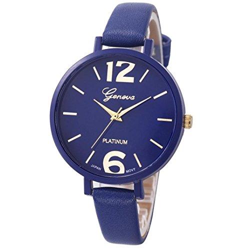 Women Watch,SMTSMT Women's Faux Leather Analog Quartz Wrist Watch-Deep Blue