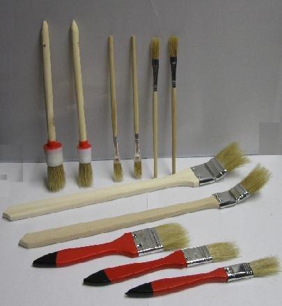 Maler Pinsel SET 11 tlg., Chinaborste zum Malen und Streichen, Rund Flach Pinsel (LHS)