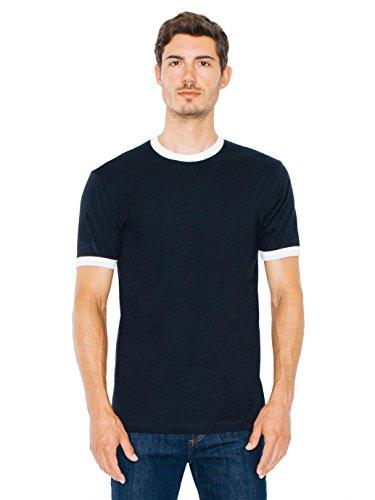 American Apparel Men Fine Jersey Short Sleeve Ringer T-Shirt Size L Black /