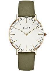 Cluse Womens La Boheme 38mm Green Leather Band Metal Case Quartz White Dial Analog Watch CL18023