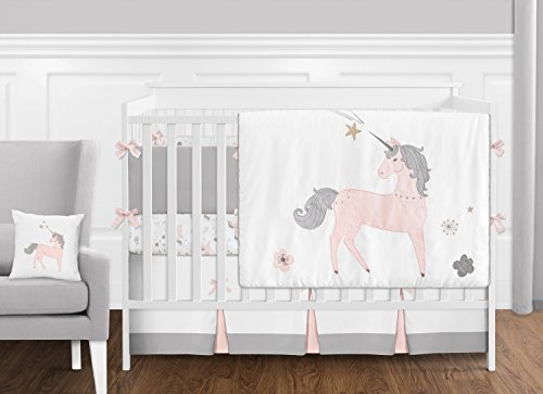 Crib Toile Floral (9 pc. Pink, Grey and Gold Unicorn Baby Girl Crib Bedding Set with Bumper by Sweet Jojo Designs)