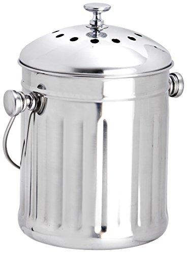 Mini Compost - Eddingtons 2.25 Litre Mini Tabletop Compost Pail / Tea Bag Bin, Stainless Steel
