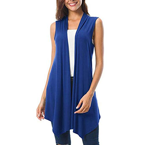 Women's Lightweight Sleeveless Solid/Tie-Dye Open Front Drape Vest Cardigan Plus Size,Londony Open Front Cardigan Blue