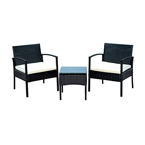 EBS 3 Piece Rattan Wicker Patio Garden Lawn Furniture Outdoor / Indoor Complete Set with Coffee Table + Chairs Set for 2 - Black PE