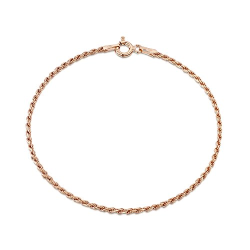 - Amberta 14K Rose Gold Plated on 925 Sterling Silver 1.5 mm French Rope Chain Bracelet Length 7.5