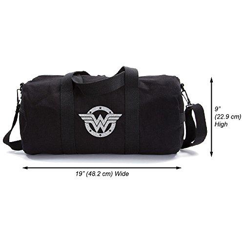 Wonder Woman Logo Heavyweight Canvas Duffel Bag, Black & Glitter Silver, Large