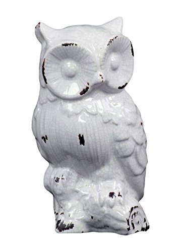 [宅送] Benzara Dazzling Ceramic Shade Benzara Owl Antique in Ceramic Radiant White Shade [並行輸入品] B07519FC86, 豊田市:fa862923 --- arcego.dominiotemporario.com