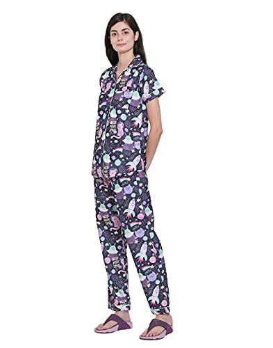 Moonlight Studio Space Cat Women's Pajama Set, Night Suit, Lounge Wear, Shirt & Pyjama Dress