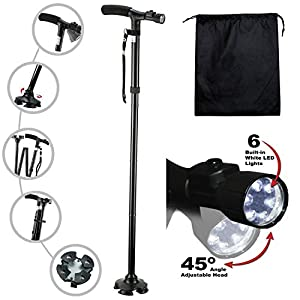 Kitchen Krush Travel Adjustable Folding Canes and Walking Sticks for Men and Women with Led Light and Cushion Handle for Arthritis Seniors Disabled and Elderly Best Mobility Aids Cane from Kitchen Krush