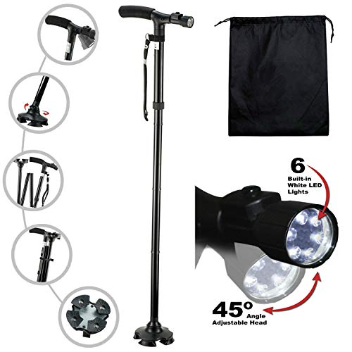 Kitchen Krush Travel Adjustable Folding Canes and Walking Sticks for Men and Women with Led Light and Cushion Handle for Arthritis Seniors Disabled and Elderly Best Mobility Aids Cane by Kitchen Krush (Image #1)