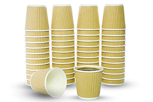 - 4 Oz. Rippled Paper Hot Coffee Cup For Espresso, Nespresso, Lavazza, Sampling Cup 50 Pack