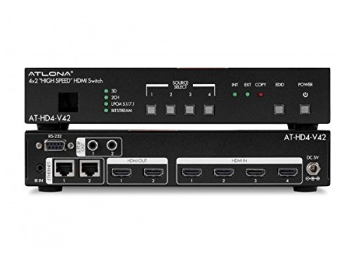 Atlona Technologies AT-HD4-V42 4X2 HDMI Switch with 3D, ARC and ()