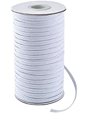 """Coopay 100 Yards Length 1/4"""" Width Elastic Cord Elastic Bands Elastic Rope Heavy Stretch Elastic Spool Knit for Sewing (White, 1/4 Inch)"""