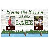 "Prinz ""Living the Dream at the Lake"" Wood Wall Hooks with Two Photo Openings, 4 by 6-Inch For Sale"