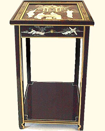Shiny Black Lacquer - Oriental Stand with Drawer, Shelf, and Glass Top - Shiny Black Lacquer Painted with Inlaid Mother of Pearl - 29
