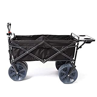 Mac Sports Heavy Duty Collapsible Folding All Terrain Utility Wagon Beach Cart with Table - Black