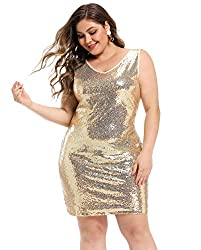 Plus Size V Neck Sleeveless Gold Cocktail Loose Fit Dress