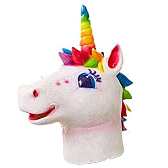 Majestic Rainbow Unicorn Mask Cosplay Costume