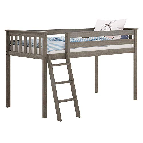 Max & Lily Solid Wood Twin-Size Low Loft Bed, Clay from Max & Lily