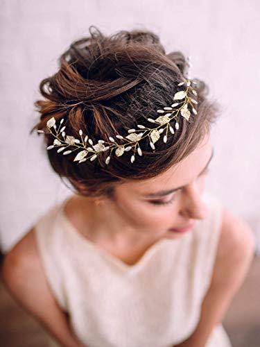 Yean Gold Leaf Bride Wedding Headband Pearl Bridal Hair Accessories Headpiece for Women and -
