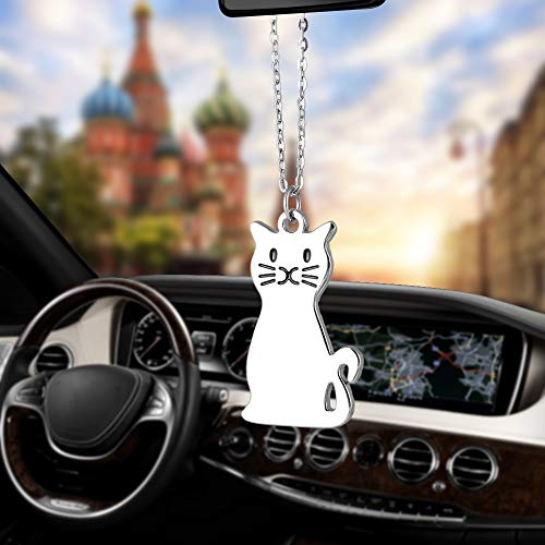 Libloop Various Car Pendant Metal Cool Poker with Coin Casino Lucky Football Guitar Kitty Cat Puppy Dog Closestool Handcuffs Robot Ornaments Charms Rearview Mirro Decoration Hanging Home Decor (Cat)