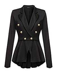 Women Double Breasted Suit Collar Blazer Jacket Outerwear Tops