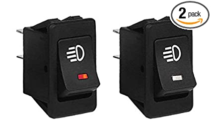 Sdootauto 2 Pcs Car Replacement LED Fog Light Toggle Switch DC 12V 35A 4  Pins ON/OFF Boat Rocker Switch for Universal Auto Car Red and White Light