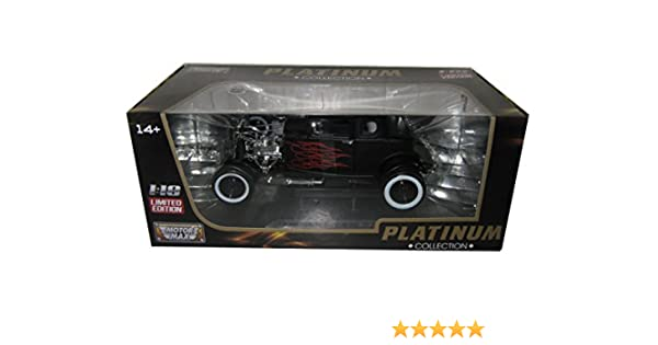 Amazon.com: 1932 Ford Hot Rod Matt Black with Flames Limited Edition / Platinum Collection 1/18 by Motormax 77172: Toys & Games