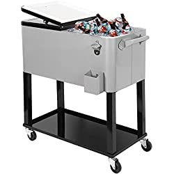 Clevr 80 Qt Outdoor Patio Cooler Rolling Cooler Ice Chest Tub, Grey, Portable Patio Party Bar Cold Drink Beverage Chest, Outdoor Cooler on Wheels Cart with Shelf, Stand, Bottle Opener
