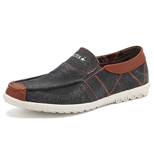 Homme basket mode sans lacet chaussure en toile jeans fashion chaussons plat mocassin loafers légère loisir gris foncé